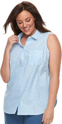 Croft & Barrow Plus Size Print Sleevless Button-Front Shirt