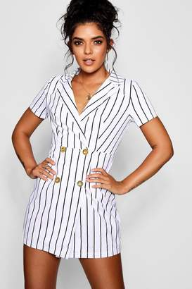 boohoo Striped Cap Sleeve Blazer Dress