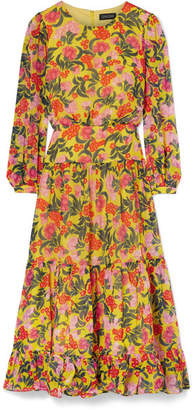 Saloni Isabel Floral-print Silk-chiffon Midi Dress - Yellow