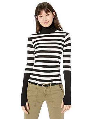 Enza Costa Women's Cashmere Cuffed Long Sleeve Turtleneck Top