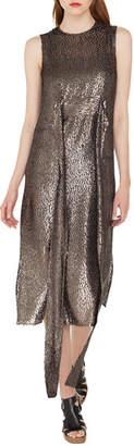 Akris Sleeveless Self-Belt A-Line Metallic Silk Dé;voré; Cocktail Dress