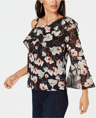 INC International Concepts I.N.C. Printed Floral Asymmetric Blouse, Created for Macy's