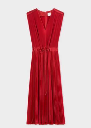 Paul Smith Women's Red Pleated Sleeveless Midi Dress