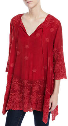 Johnny Was Antique Lace 3/4-Sleeve Tunic, Plus Size