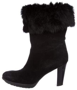 Aquatalia Fur-Trimmed Mid-Calf Boots