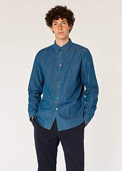 Paul Smith Men's Tailored-Fit Mid-Wash Denim Shirt With Multi-Colour Button Placket