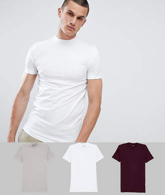 Asos Design DESIGN Muscle T-Shirt With Turtle Neck 3 Pack Save