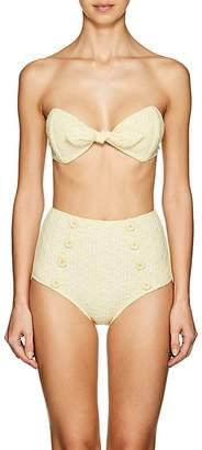Lisa Marie Fernandez Women's Poppy Seersucker High-Waist Bikini