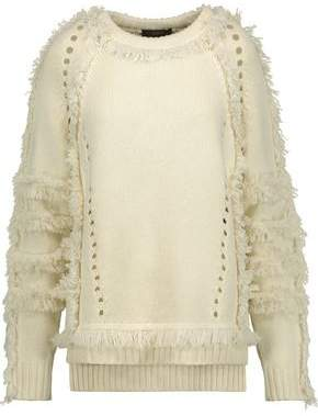 Belstaff Karli Fringed Wool Silk And Cashmere-Blend Sweater