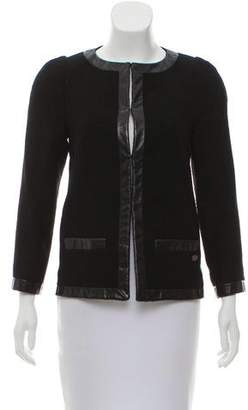 Chanel Tweed Leather-Trimmed Jacket