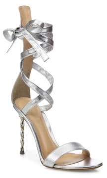Gianvito Rossi Folie Metallic Leather Ankle-Wrap Sandals