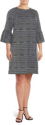 Calvin Klein Plus Plaid Bell-Sleeve Dress