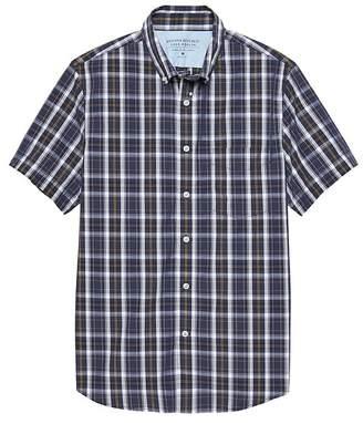 Banana Republic Grant Slim-Fit Luxe Poplin Short-Sleeve Plaid Shirt