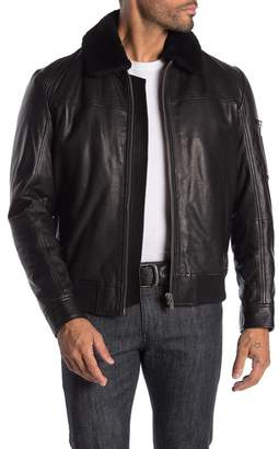 BOSS Lannzo Front Zip Faux Fur Collar Jacket