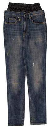 R 13 High-Rise Leather-Accented Jeans