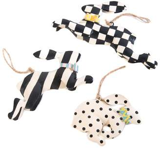 Mackenzie Childs Mackenzie-childs Rabbit Crossing Ornaments (Set of 3)