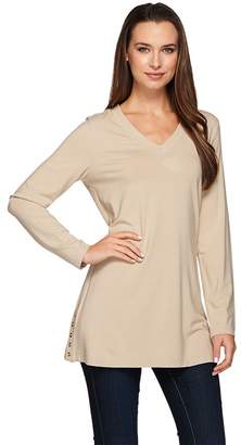 Susan Graver Dolce Knit Long Sleeve Tunic with Button Detail