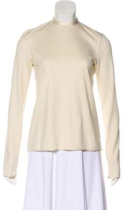 DELPOZO Satin-Trimmed Long Sleeve Top