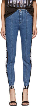 MSGM Blue Logo Tape Stirrup Jeans