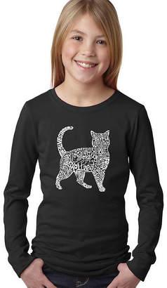 LOS ANGELES POP ART Los Angeles Pop Art Cat Long Sleeve Girls Word ArtT-Shirt