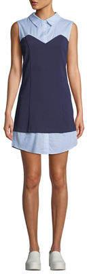 ENGLISH FACTORY Sleeveless Knit-Bodice Combo Shirtdress