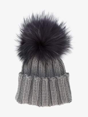 Inverni Grey Wide Ribbed Cashmere Hat with Fur Pom pom