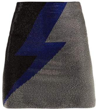Balmain Lightning Bolt Crystal Embellished Mini Skirt - Womens - Black Multi