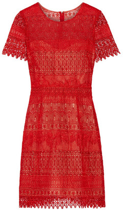 Marchesa Notte - Guipure Lace Mini Dress - Red $595 thestylecure.com