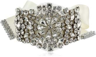 Nina Ilissa Delicate Tie-On Satin Ribbon and Crystal Bracelet