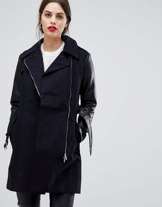 French Connection Amanda Trench Coat with Faux Leather Sleeves
