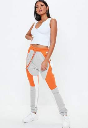Missguided Grey Marl Colour Block Graphic Joggers