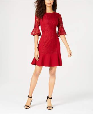 NY Collection Petite Lace Flounce-Hem Dress