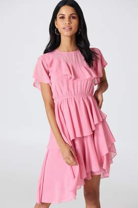 Na Kd Boho Asymmetric Flounce Dress Ballet Pink