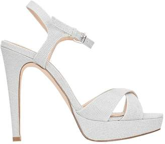Bibi Lou Platinum Glitter Plateau Sandals