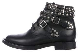 Saint Laurent Embellished Leather Ankle Boots