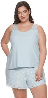 Apt. 9 Plus Size Lace-Trim Sleep Tank & Pajama Shorts Set