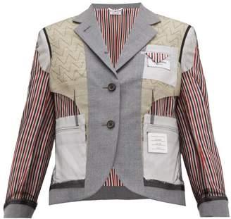 Thom Browne Inside Out Wool Blend Single Breasted Blazer - Womens - Grey Multi