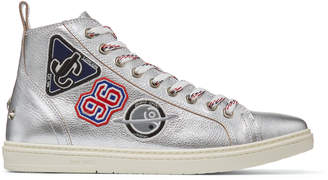 Jimmy Choo COLT Silver Grainy Leather High Top Trainers with Embroidered Badges