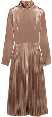 Valentino Pleated Velvet Turtleneck Midi Dress