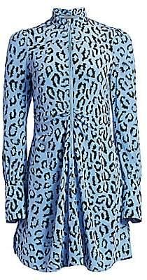 A.L.C. Women's Marcella Leopard Print Silk Long-Sleeve Dress - Size 0
