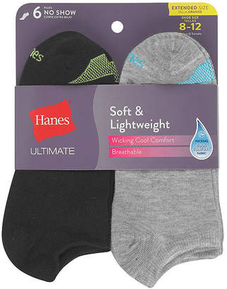 Hanes 6 Pair No Show Socks - Womens