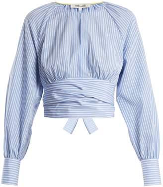 Diane von Furstenberg Striped wrap-tie waist cotton top