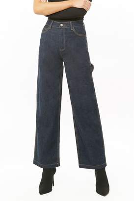 Forever 21 Wide-Leg Contrast-Stitch Jeans