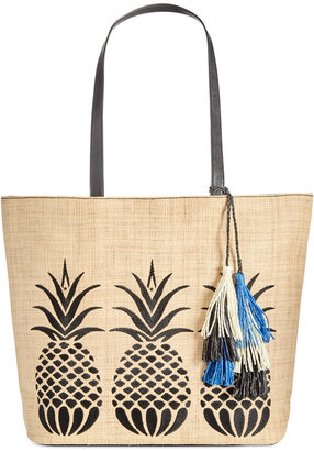 INC International Concepts Aadi Pineapple Straw Tote, Only at Macy's $89.50 thestylecure.com