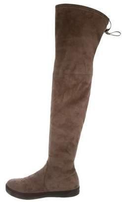 Stuart Weitzman Suede Round-Toe Over-The-Knee Boots
