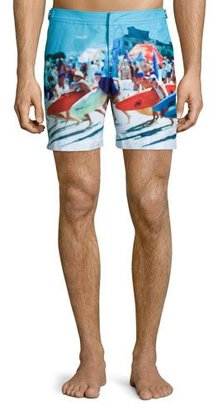 Orlebar Brown Bulldog Happy Sandboys Print Swim Trunks $345 thestylecure.com