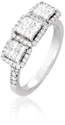 Ella Women Diamond ring. Engagement Diamonds Ring ( Color), Invisible Setting, 14K Gold (white-gold, 7.5)