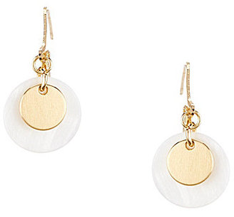 Anne Klein Mother-of-Pearl Disc Drop Earrings $24 thestylecure.com