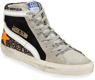 Golden Goose Glitter Suede High-Top Sneakers