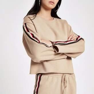 River Island Womens Beige tape popper side sweatshirt